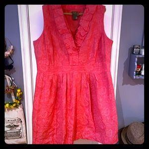 Coral/pink floral brocade pocketed dress 20